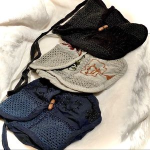 Cloth mini-bags (set of 3) with embossed decor